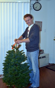 Matt and I celebrated Christmas Charlie Brown style with the smallest Christmas tree ever.